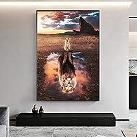 キャンバスに絵画壁アートマインドセット絵画現代北欧反射ポスター動物の写真リビングルームの寝室の装飾-75x100cmフレームなし