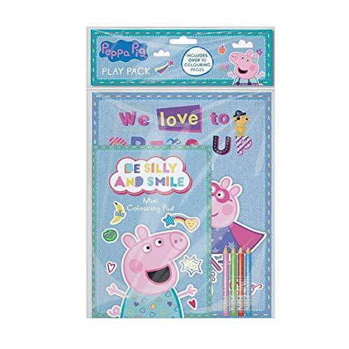 The Home Fusion Company Peppa Pig Play Pack A4 Libro para Colorear & A5 Pad con Lápices de Colores Bolsa Fiesta
