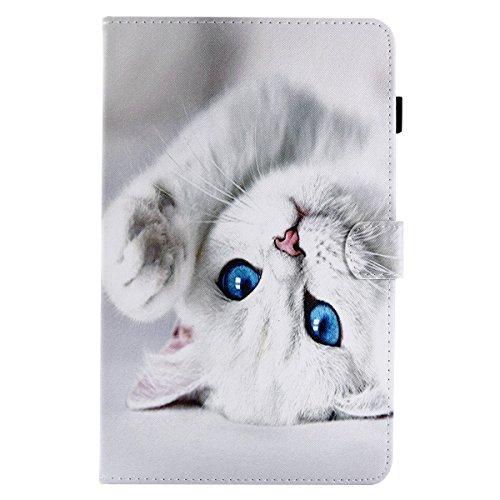 Lspcase Hülle für Samsung Tab A6 10.1 SM-T580 / SM-T585 PU Leder Case Magnetisch Flip Cover Etui mit Auto Schlaf/Aufwach Funktion und Stifthalter für Samsung Galaxy Tab A 10.1 2016 Nette weiße Katze