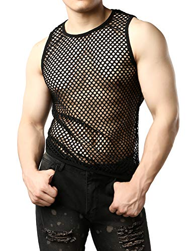 JOGAL Men's Mesh Fishnet Fitted Sleeveless Muscle Top Small WG01 Black