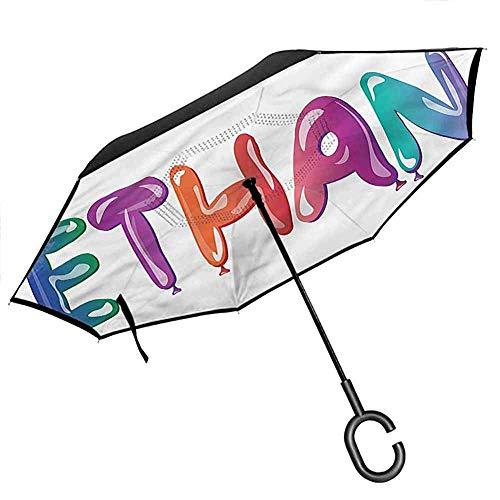 Decoración Fiesta de Compromiso Doble Capa Paraguas invertido Plegable Corazones Matrimonio para Lluvia de automóvil Uso al Aire Libre para protección UV y Lluvia -K568