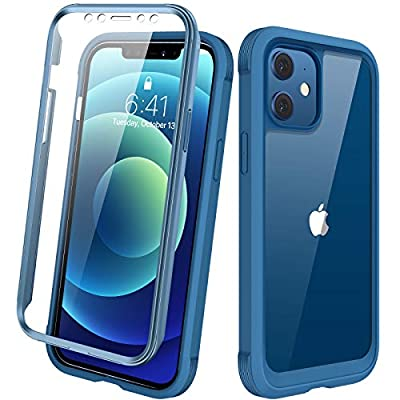 """Diaclara Designed for iPhone 12/12 Pro Case, Full Body Rugged Case with Built-in Touch Sensitive Anti-Scratch Screen Protector, Soft TPU Bumper Case for iPhone 12/12 Pro 6.1"""" (Blue and Clear)"""