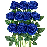 Luyue Artificial Silk Rose Flower Bouquet Wedding Party Home Decor, Pack of 10-Solid Navy Blue