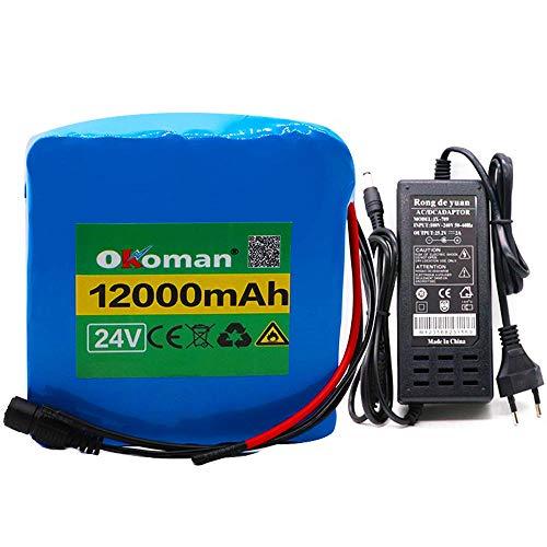 Batteria per bici elettriche da 24 V Batteria al litio da 12 Ah per bicicletta elettrica BMS 6S5P 25,2 V 12000 mAh + caricabatterie