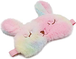 ZTL Cute Animal Eye Mask Soft Plush Sleep Masks for Women Girls Home Sleeping Traveling with Adjustable Strap (Rainbow Rabbit)