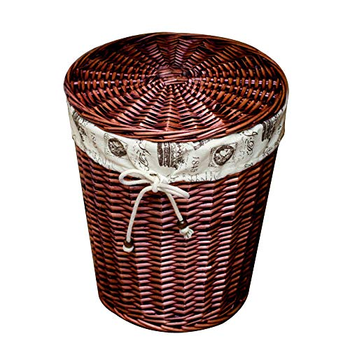 Qinmo Laundry baskets,Dirty Hamper Rattan Covered Laundry Basket Wicker Large Clothes Dirty Clothes Toy Bucket (Color : Brown, Size : Large)