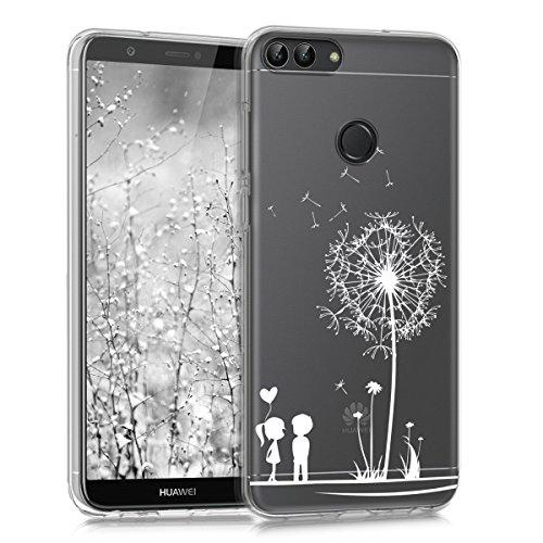 kwmobile Hülle kompatibel mit Huawei Enjoy 7S / P Smart (2017) - Handyhülle - Handy Case Pusteblume Love Weiß Transparent