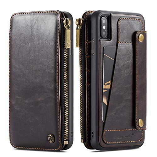 Wallet Leather Case for Apple iPhone Xs MAX,Brown 4 Card Slot (ID Card,Credit Card) 2 Money Pockets(one Zipper) Kickstand Full Protection 6.5inch Removable Design Best Gift for Girls Boys Unisex