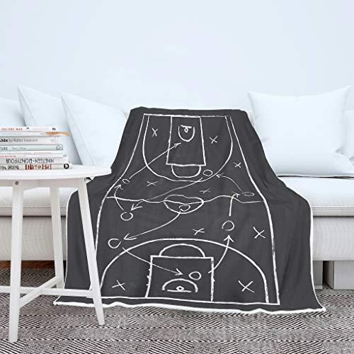 Windhada Basketballfeld Decke, Neuheits Kuscheldecke, Flauschig Weich Wärmedecke in vielen Größen erhältlich White 130x150cm