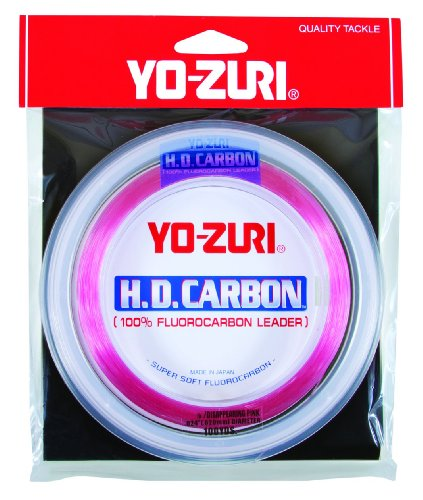 Yo-Zuri H.D. Fluorocarbon Wrist Spool 100-Yard Leader Line, Pink, 15-Pound