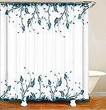 MundW DAS DESIGN Duschvorhang blau Pflanzen Badezimmer Textil Vorhang Blätter Farbfest Antischimmel Effekt waschbar 12 C-Ringe Gewicht unten 180x200(B*H) cm