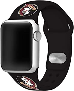 AFFINITY BANDS Florida State Seminoles Silicone Sport Watch Band Compatible with Apple Watch (42mm/44mm - Black)