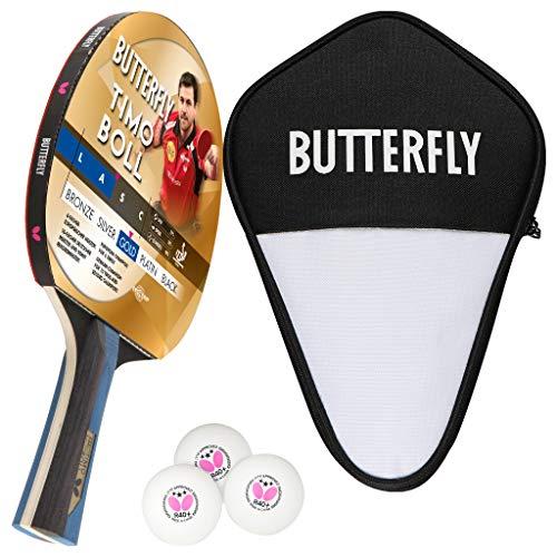 Butterfly Timo Boll Gold - Juego de raquetas de ping pong (incluye funda y 3 pelotas ITTF G40)