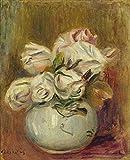 Pierre-Auguste Renoir - Rose Bianche Riproduzioni Quadro Stampa su Tela Arrotolata 40X50 c...