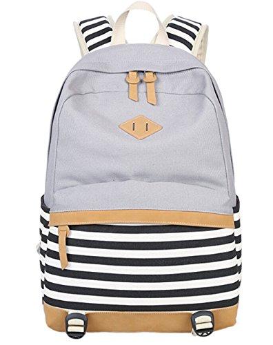 DATO Bolso Mochilas Escolares Raya Mochila de Lona para Mujer Moda Moda Juvenil Grand Capacidad Viaje Mochilas Tipo Casual Backpacks