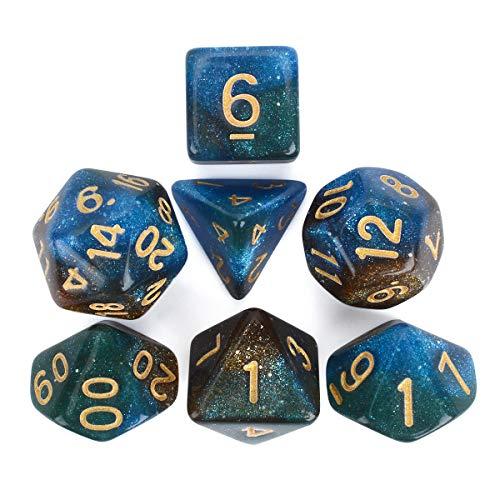 FLASHOWL Set di Dadi Multicolor Cielo Stellato, Set di Dadi DND per Giochi di Ruolo, Gioco da Tavolo, Set di Dadi da Gioco poliedrici (7 Pezzi)
