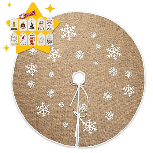 LotFancy Christmas Tree Skirt, 48 Inch Burlap Tree Skirt Christmas Decorations, White Snowflake Pattern, Rustic Tree Skirt for Xmas, New Year, Holiday, Party, Indoor, Outdoor, Large Size