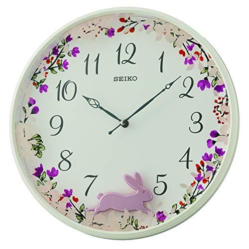 Seiko QXC238W - Orologio da parete a pendolo in plastica, colore: Bianco