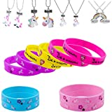 Unicorn Necklace BFF Unicorn Rainbow Friendship Necklace and Unicorn Silicone Bracelet (16+8pack)