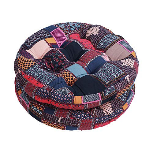 Tiita Meditation Pillows Boho Floor Cushions 22' x 22' Round Seat Pillow India Floor Pad Yoga Seat Cushion for Indoor/Outdoor Chair Furniture Set of 2, Plaid