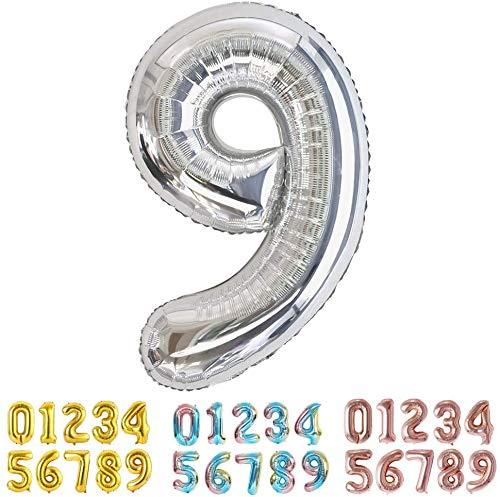 Globo Número 9 Nueve Gigante en Color Plata - Número Grande en Color Plata Metalizado - Fiesta de cumpleaños y Aniversarios - Gigante 105 cm - Hinchable - Tamaño XXL (9-Plata)