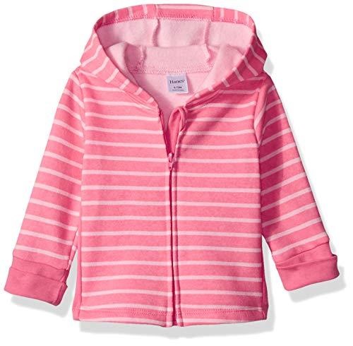 Hanes Ultimate Baby Zippin Fleece Hoodie, Pink Stripes Print, 18-24 Months