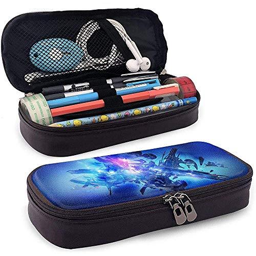 Étui à crayons en cuir imprimé bleu abstrait, trousse de maquillage de voyage, boîte à étuis