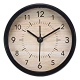不二貿易 置き時計 直径9cm ブラック 目覚まし アラーム機能付き スイープ 連続秒針 静音 ゾーイ 99074