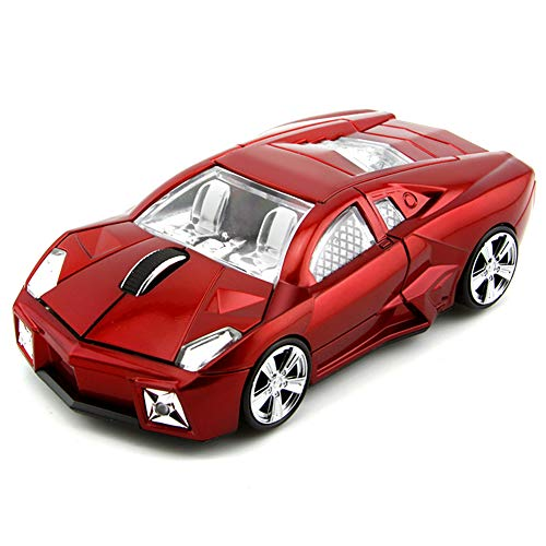 FIRSTMEMORY Wireless Car Mouse, 2.4G Cool Sport Race Car Shaped Mouse Wireless Optical Car Computer Mouse,1600 DPI for PC Laptop Desktop (Red)