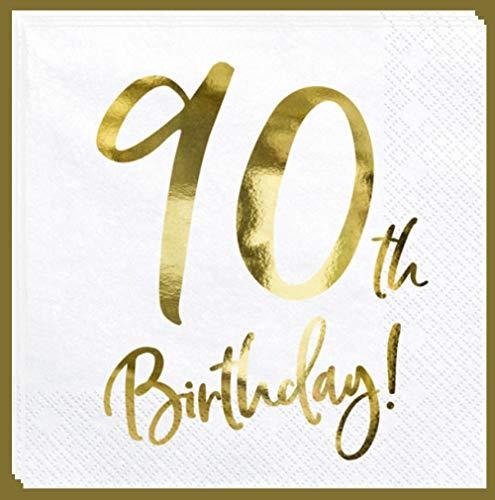 Libetui Set 20 Servietten Gold 90 Geburtstag Party Servietten 'Happy Birthday' Deko Geburtstagsparty Servietten Gold 90. Geburtstag