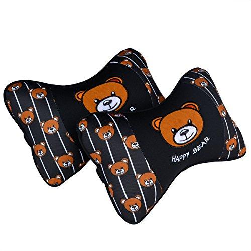 Tianmei 2PCS Happy Bear Cartoon Styling Car Headrest Protect Neck Pillow Cute Fashion Travel Rest Pillow Cushion Pad (Happy Bear - Black Color 1 Pair)