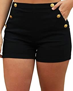 Womens Shorts High Waisted Stretchy Side Button Hot Pants with Pockets
