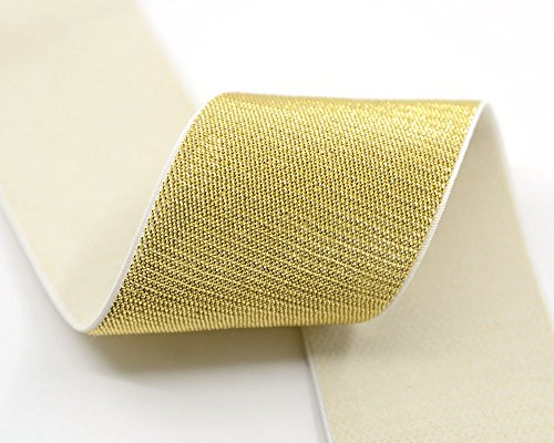 iCraft 2-inch Wide by 3-Yard Soft Gold and Silver Glitter Waistband Elastic Band, Gold Glitter in White 21060