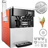 BuoQua Speiseeisbereiter Orangerot Desktop Kommerzielle Softeismaschine Eismaschine Ice Cream maker 220V Edelstahl Maschine mit Eikegel
