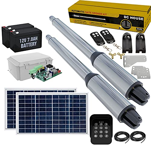 DC HOUSE Automatic Solar Gate Opener Kit Electric Heavy Duty Dual Swing Gate Operators with Keypad, Remote Control Up to 16.4 Feet or 850 Pounds (Batteries Included)   Subcontract Delivery