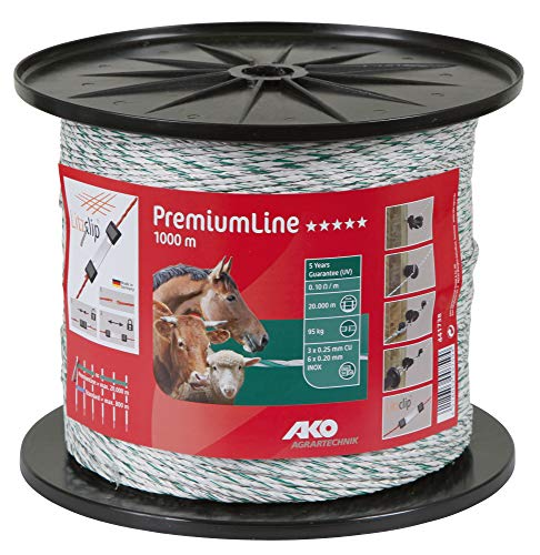 AKO PremiumLine Weidezaunlitze/Elektrozaun Litze, 3 mm, weiß/grün - 1000 m - Widerstand: 0,10 Ohm, Sehr guteLeitfähigkeit für Alle Zaunanlagen - 3X Kupfer, 6X Edelstahl Leiter - Vielseitig einsetzbar