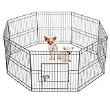 Yaheetech 8 Panel Pet Dog Pen Puppy Playpen Foldable Rabbit Run Cat Duck Cage Fence Indoor/Outdoor 61cm High