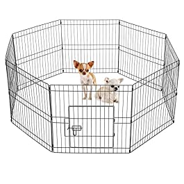 Yaheetech 8 Panel Pet Dog Pen Puppy Playpen Foldable Rabbit Run Cat Duck Cage Fence Indoor/Outdoor 61cm High