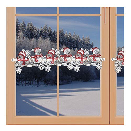 artex deko Weihnachts-Feenhausspitze Winter-SPATZEN Zauberhafte Spitzenkante für Scheibengardinenstangen Echte Plauener Spitze