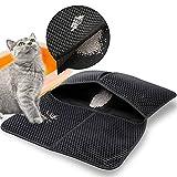 Hianjoo Estera de Arena para Gatos Impermeable, 55 * 70cm Diseño de Panal con Control de Dispersión de Alfombrilla de Caja de Arena Lavable de Doble Capa Impermeable para Gatos (Negro)