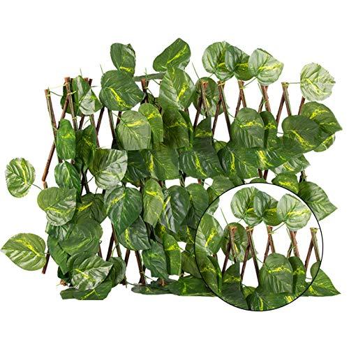 Cowslip Künstliche Efeu Garten Sichtschutz Privatsphäre Zaun Bildschirm Faux Leaf Dekorative Versenkbare Zaun Für Outdoor-Garten Dekor - 40x20 cm