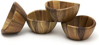 Lipper International Wave Bowls (Set of 4), Brown