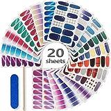 20 Sheets Nail Polish Stickers Full Nail Wraps,...