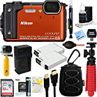 Nikon COOLPIX W300 16MP 4k Ultra HD Waterproof Digital Camera (Orange) + 32GB Memory & Deluxe Accessory Bundle