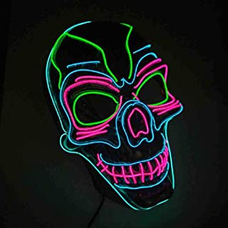 Halloween EL Wire Glowing Mask LED Party Mask Disfraces de Máscara para Horror Theme Party Decoration