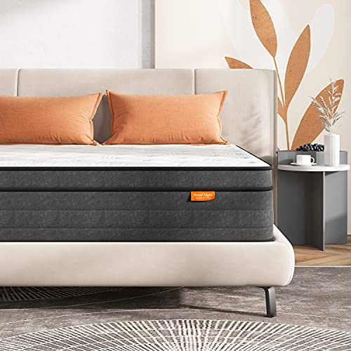 Sweetnight King Size Mattress 5FT Gel Memory Foam Sprung Mattress 8 Inch Spring Hybrid Breathable Mattress King Bed, Motion Isolating Individually Wrapped Coils, Medium-Firm Feel, 150x200x20 cm