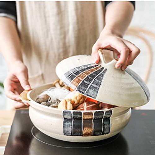 SHYPT Cacerolas de Arcilla de cerámica Negra Retro, Cacerola Resistente al Calor para el hogar, Sopa, Olla Caliente, estofado de Vientre, sartén de cerámica para cocinar