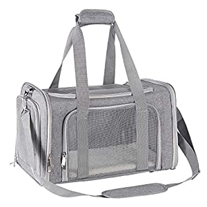 Nooyi Cat Carriers Dog Carrier Puppy Carrier, Airline Approved Pet Carriers, Soft Sided Collapsible Pet Travel Carrier for Small Medium Cats Small Dogs of 15Lbs (Grey)