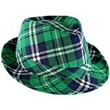 Skeleteen Irish Plaid Green Fedora - St. Patrick's Day Costume Accessories Leprechaun Hat for Men...