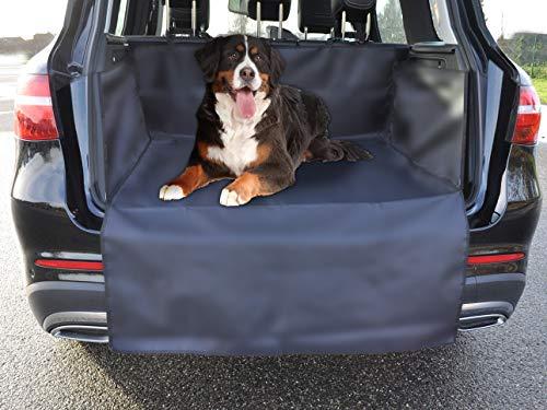 Milanino Kofferraumschutz Hund mit Seitenschutz Autoschutzdecke | Kofferraum Schutz für KFZ & SUV - Robuste Schutzmatte für Hunde, Tiere | Universal Hundedecke Auto Kofferraummatte in Schwarz